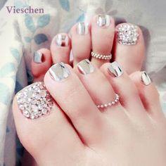 Vieschen Silver Color Toe False Tips False Toenail Tips for Summer DIY Pedicure with Glue 24pcs