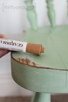 An awesome tip on distressing furniture without mess or fumes....all you need is spray paint, sandpaper and furniture marker!!!!
