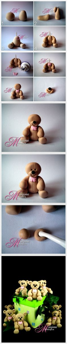 How to make a teddy bear out of fondant, modeling chocolate, or clay Cake Topper Tutorial, Fondant Tutorial, Fondant Toppers, Fondant Cakes, Cupcake Toppers, Teddy Bear Cakes, Teddy Bears, Fondant Teddy Bear, Decoration Patisserie