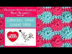 Catherines Wheel Stitch for the Crochet Stitch Sampler Baby Blanket Crochet Along (Video Join host Marly Bird for the eighth square of the Stitch Sampler Baby Blanket Crochet Along! Written patterns and video tutorials will be Crochet Baby Booties, Baby Blanket Crochet, Crochet Blankets, Baby Blankets, Crocheted Afghans, Crochet Classes, Crochet Videos, Crochet Tutorials, Crochet Basics