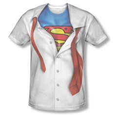 98897e2dfd65 New Superman Costume Shirt & Tie Outfit Sublimation ALL OVER Vintage T-shirt  top. Dc Comics ...