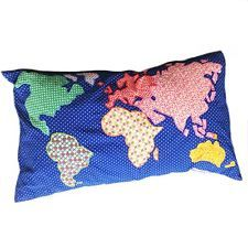 *Sass & And Belle Long Wonderful World Map Cushion Pillow Applique Decoration*