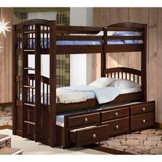 Donco Twin over Twin Captains Trundle Bunk Bed | from hayneedle.com