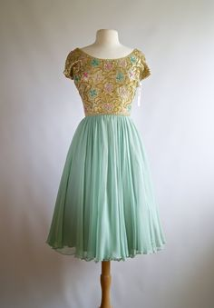 Vintage 60s Silk Chiffon Beaded Cocktail Dress By by xtabayvintage