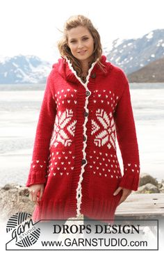 """Welcome to the North - Long DROPS jacket in """"Eskimo"""" with Norwegian pattern and hood. - Free pattern by DROPS Design Hood Pattern, Vest Pattern, Free Pattern, Drops Design, Knitting Patterns Free, Free Knitting, Crochet Patterns, Norwegian Knitting, Magazine Drops"""