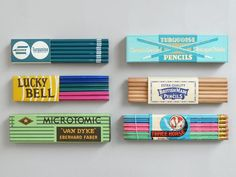 Pencil branding from Present and Correct. Cool Packaging, Packaging Design, Vintage Packaging, Vintage Labels, E Design, Graphic Design, Stationery Pens, Old Boxes, Vintage Office