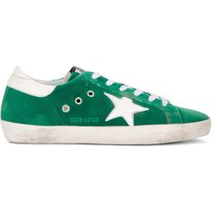 Golden Goose Deluxe Brand Superstar sneakers (£400) ❤ liked on Polyvore featuring shoes, sneakers, green, green shoes, green flat shoes, round toe shoes, round toe flat shoes and star shoes