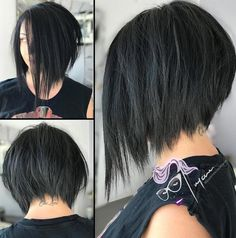 Angled Grunge Bob with Razored Ends