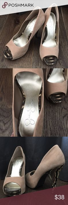 """Jessica Simpson Tan Python Peep-toe  Heels Worn gently once! Excellent condition inside & out. Comfortable 1"""" platform! 2 1/2"""" toes opening. Size 7-medium width! Jessica Simpson Shoes Heels"""
