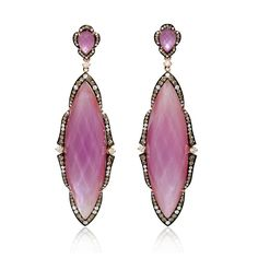 Pink Amethyst of 18k rose gold and black rhodium dangle earrings, feature 80 round brilliant cut white diamonds, F color, VS2 clarity and excellent cut and brilliance, weighing .72 carat total.