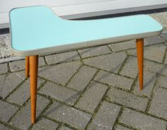 Green resopal boomerang shaped kidney side table 1950's design unique item for sale at www.royalcrown.nl SOLD