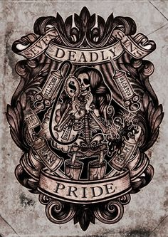 Pride Art Print from Deadly - SALE (Miscellaneous Posters). Pride Art Print Features Victorian artwork depicting one of the 7 deadly sins. These Fine Art Prints from Deadly are printed on heavy weight, archival luster gloss pape Memento Mori, Seven Deadly Sins Tattoo, Sin Tattoo, Thai Tattoo, Maori Tattoos, Tribal Tattoos, 7 Sins, Se7en, Marquesan Tattoos