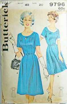 Vtg Butterick 9796 Sewing Pattern Sz 20 Bust 40 Plus Size 60s Flared Dress  #Butterick #1960s