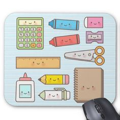 Kawaii kids back to school supplies mouse pad funny drawings, kawaii drawings, kawaii doodles School Supplies Organization, Back To School Supplies, Kawaii Doodles, Kawaii Art, Kawaii Drawings, Cute Drawings, Simple Drawings, Realistic Drawings, Beautiful Drawings
