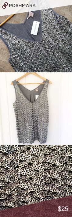 NWT! Banana Republic dressy sequin tank NWT! perfect for a summer night out! Banana Republic dressy sequin tank. Size L. Front body: 100% polyester, rest of garment: 100% viscose. Offers welcome! Banana Republic Tops Tank Tops
