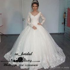 Illussion V Neck Puffy Ball Gown Wedding Dresses With Appliqued Lace Arab Bridal Gowns Vintage Long Sleeve Vestido De Noiva 2017 Wedding Dresses Bridal Gowns Country Wedding Dresses Online with $200.0/Piece on Cc_bridal's Store | DHgate.com
