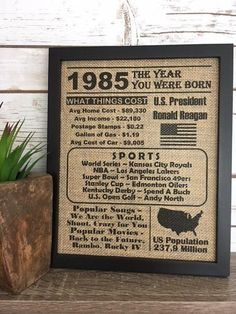 Framed Burlap Printed Year You Were Born Events Of The Birthday Gift Birth Any C