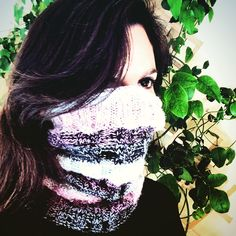 Baby Alpaca & Silk in Grey, Black, White & Lialac  a beautiful hand knit snood scarf. The perfect accessory to wear on a bike ride, under your motorcycle helmet, or even for your workout.