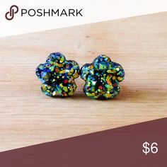 """Green Rainbow Faux Druzy Earrings Handmade earrings with green rainbow faux druzy charms.  We offer 15% off on all bundles. You can """"Add to Bundle"""" to get discount.  Most items listed are ready to ship but if you need something sooner please let us know before ordering.  Thank you for shopping my closet! Country Mermaids Jewelry Earrings"""