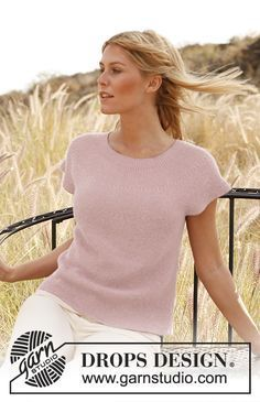 """Rose of May by DROPS Design """"You'll love this - both at home and at work!"""" Knitted DROPS top in garter st in """"Alpaca"""". Drops Design, Sweater Knitting Patterns, Crochet Cardigan, Knitting Designs, Crochet Patterns, Summer Knitting, Easy Knitting, Crochet Summer, Knitting Videos"""