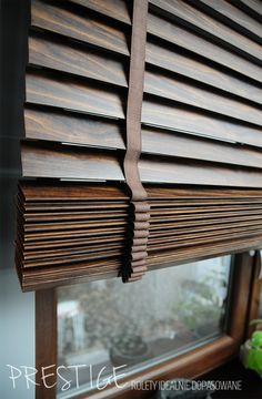Wooden window blinds as part of a home improvement project Wooden Window Blinds, Wood Blinds, Window Curtains, Drapes And Blinds, Blinds For Windows, Louvre Doors, Interior Paint Colors For Living Room, Blinds Design, Wooden Slats