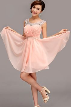 2015 Homecoming Dresses Bateau Short/Mini Rulffled&Beaded Chiffon Hot Selling