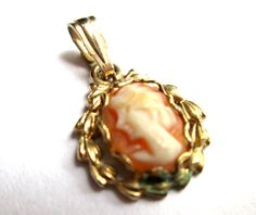 Adorable Teeny Tiny Miniature Vintage Cameo Pendant Victorian Revival Gold Tone Faux Coral Profile Woman Round by eKatJewels on Etsy