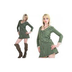 Vtg Vintage 60s Mod Dolly Plaid Preppy Button down shirt dress mini... via Polyvore