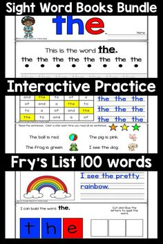 These printable Interactive Sight Words books are an amazing addition to you sight word work. Each book is easy to prep. Each Book has 6 pages, your kindergarten and first grade students will read, write, find, and build the sight word. This is a high e Fry Sight Words, First Grade Sight Words, Sight Word Practice, First Grade Math, Writing Practice, Beginning Of Kindergarten, Kindergarten Readiness, Preschool Sight Words, Math Stations