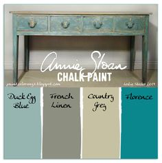 Colorways with Leslie Stocker »  Console Table  Florence, Country Grey, Duck Egg Blue, French Linen