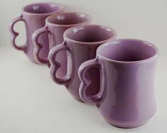 Vintage Frankoma Mugs Wisteria Glaze Color Lavender Light