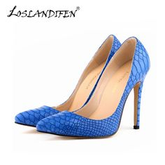 Autumn New Women Pumps Leisure High Heels Shoes Pointed Toe Snake Embossed  Office Ladies Wedding Shoes ce14d30862a1