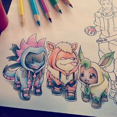 Eevee in a Leafeon suit Growlithe in a Arcanine suit Deino in a Hydreigon suit