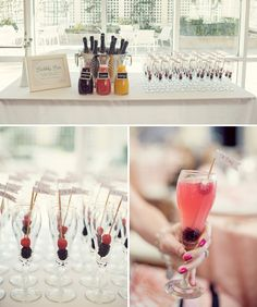 Fill carafes with pomegranate, guava, and orange juice and mix different flavors with your bubbly. Add fruit skewer in the champagne glass.