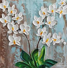 Buy White Orchid, Acrylic painting by Olga Tkachyk on Artfinder. Discover thousands of other original paintings, prints, sculptures and photography from independent artists. Orchids Painting, Flower Painting Canvas, Flower Canvas, Knife Painting, Kerala Mural Painting, White Orchids, Lovers Art, Art Drawings, Abstract Art