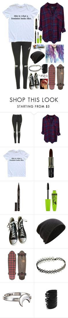 """""""I want the world to go away"""" by nelrann ❤ liked on Polyvore featuring Topshop, Rails, Manic Panic NYC, Smith & Cult, Rimmel, Converse, FWSS and Grace + Scarper"""