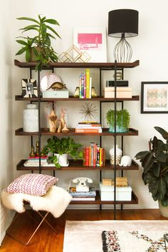 Before amp; After: A Small Victorian Living Room Gets an Apartment Therapy Makeover - Wood Bookcases - Ideas of Wood Bookcases - Before amp; After: A Small Victorian Living Room Gets an Apartment Therapy Makeover Small Living Rooms, Living Room Designs, Living Spaces, Living Room With Plants, Living Room Furniture, Living Room Decor, Apartment Furniture, Dining Rooms, Office Furniture