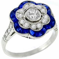 Estate Antique 0.60ct Old Mine Cut Diamond 1.00ct French Cut Sapphire Platinum Ring - See more at: http://www.newyorkestatejewelry.com/rings/art-deco-0.60ct-diamond-1.00ct-sapphire-gold-ring-/25178/1/item#sthash.gbwIXVzG.dpuf