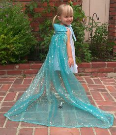 Perfect for Halloween as a costume or costume add-on! Queen Elsa Cape with Bustle: Silver Snowflake Organza