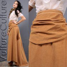 Vtg Antique 1900's Butterscotch Corduroy Victorian Bustle Drape Train Skirt XS/S