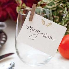 End of Summer Dinner | Use a small clothes pin to clip a place card to a wine glass and keep it from blowing away!