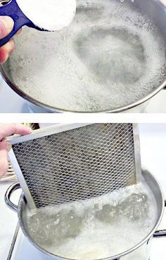 Is The Easiest Way To Clean Your Range Hood Filter How to clean that greasy stove vent filter!How to clean that greasy stove vent filter! Household Cleaning Tips, Household Cleaners, Cleaning Recipes, Diy Cleaners, Cleaners Homemade, House Cleaning Tips, Spring Cleaning, Cleaning Hacks, Cleaning Supplies