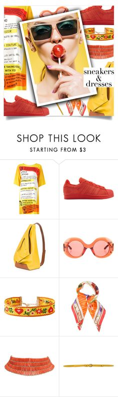 """""""Sporty Chic: Sneakers and Dresses"""" by loloksage ❤ liked on Polyvore featuring Moschino, adidas Originals, Matthew Williamson, Linda Farrow, Roberto Cavalli and Manila Grace"""