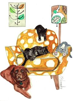 Funny Cat and Dog Print or Greeting Card From di OzarksArtStudio