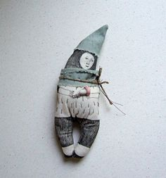 The doll is 7.5, or 19 cm tall. It is a one-of-a-kind, handmade by me from fabric and had been decorated with a fabric pen.  The FOREST MAN with a