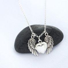 Sterling Silver Angel Wing Locket Heart locket Necklace by MonyArt, $42.80
