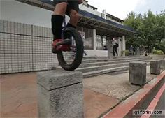 Unicycle leaping trick.