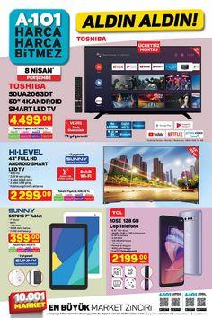 """8 Nisan ve 14 Nisan 2021 tarihleri arasında A101 marketlerde geçerli """"Aldın Aldın"""" broşürü 14 sayfadan oluşmaktadır. A101′ in 8 Nisan tarihli broşüründe Toshiba 50″, Sunny 43″ Smart LED TV, Sunny 7″ Tablet, TCL 10SE Cep Telefonu, SEG' den Derin Dondurucu, Büro Tipi Buzdolabı, turbo fırın, Çamaşır Makinesi ve Bulaşık Makinesi, bebekler için mama sandalyesi, küvet başta olmak üzere oyuncak çeşitleri ve giyim ürünleri yer almaktadır. #a101 #a101market #aktüelürünler #broşür #katalog #indirim Prime Video, Wi Fi, Movie Tv, Netflix, Youtube, Drawings, Youtubers, Youtube Movies"""