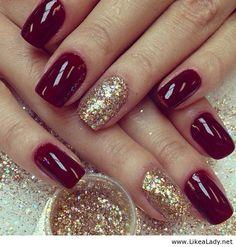 dark red nails with glitter * dark red nails ; dark red nails with design ; dark red nails with glitter ; Burgundy Nail Designs, Burgundy Nails, Red Burgundy, Plum Nails, Burgundy Colour, Oxblood Nails, Burgundy Fashion, Red Fashion, Color Red