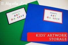 Solutions for organizing kids' artwork and school projects, plus easy DIY art portfolios (with free printable label) from 11 Magnolia Lane
